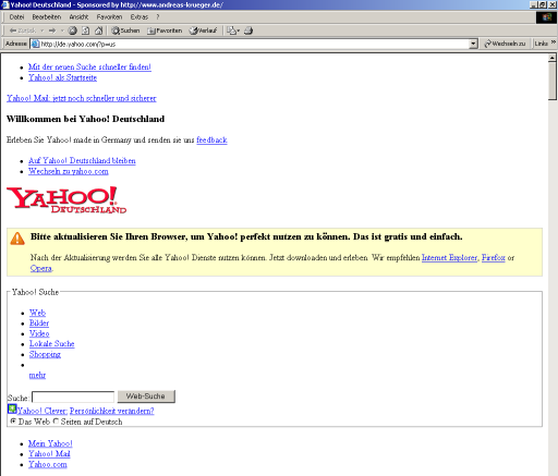 Yahoo.com as seen in Internet Explorer 5.5