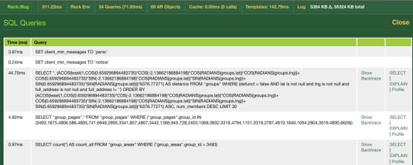 Recycling Group Finder - Rack::Bug SQL queries
