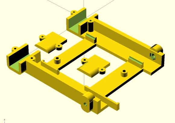 Prototype robot base designed in OpenSCAD